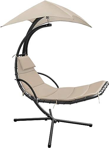 Devoko Patio Hammock Lounge Chair Outdoor Hanging Chaise Lounge Swing Chair