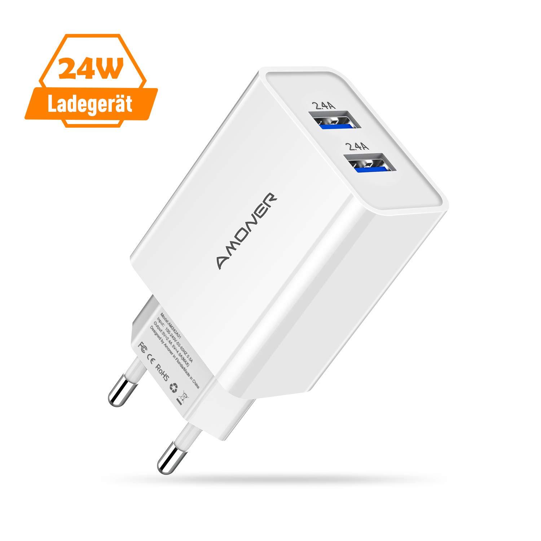 Amoner Ladekabel für iPhone Lightning Kabel und USB Ladegerät Stecker Netzteil,2Pack-1M iPhone Ladekabel und 24W 2-Port USB Ladegerät. (Weiss4) product image