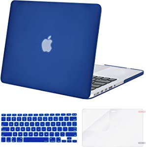 MOSISO Case Only Compatible with Older Version MacBook Pro Retina 13 inch (Models: A1502 & A1425) (Release 2015 - end 2012), Plastic Hard Shell Case & Keyboard Cover & Screen Protector, Royal Blue