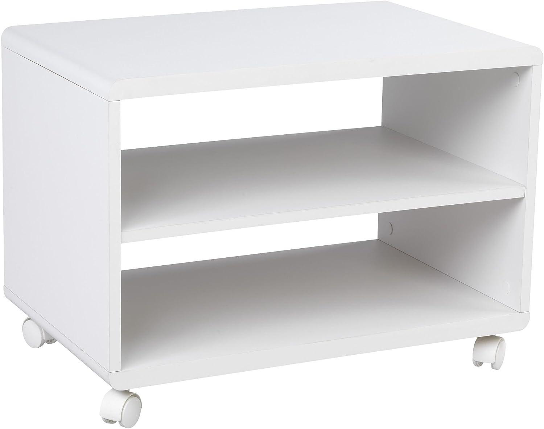 alinea soft meuble tv blanc a roulettes