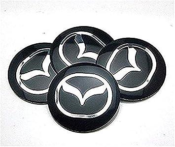 fanlinxin 4pcs D124 Negro 56,5 mm Emblema del Coche ~ Insignia Pegatina Tapas del