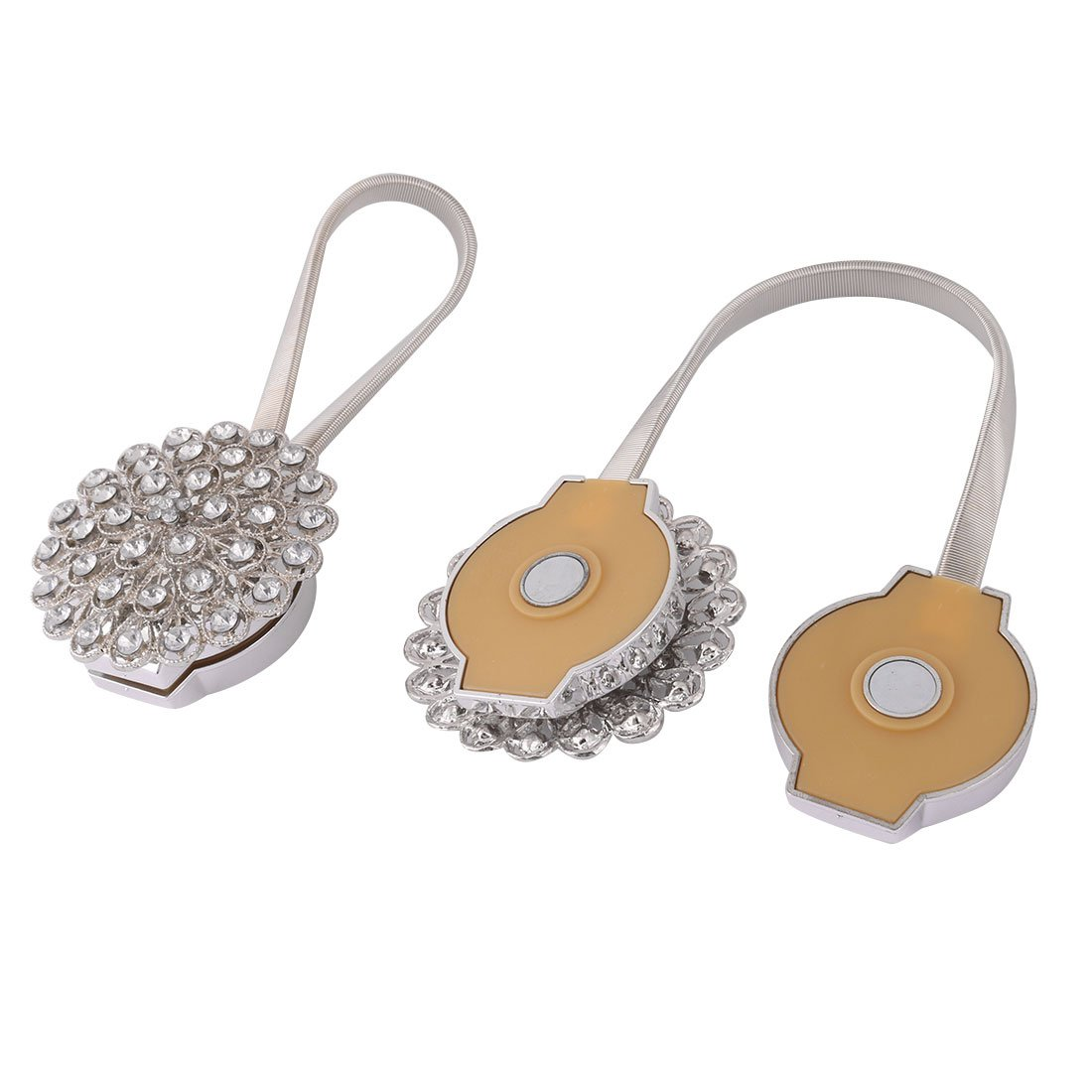 uxcell Metal Hotel Flower Design Magnetic Curtain Clip Tie Back Holdback 2 Pcs Silver Tone