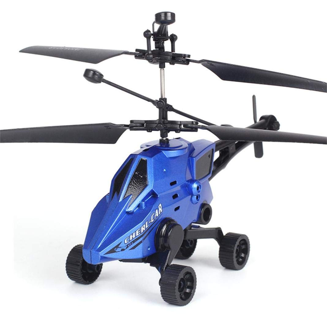 SUKEQ Remote Control Helicopter Kids, 2CH Gyro Mini RC Helicopter 4 Wheels Indoor RC Toy RC Flying Drone Beginner (Blue)