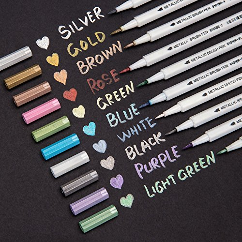 Metallic Brush Markers Pens,Soft Brush Tip Pens,Set of 10 Colors For Birthday Greeting Gift , DIY Photo Album, Rock Art Painting, Brush Tip Soft Pastel Canvas
