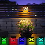 Solar Powered Fence Wall Lights, 4-Pack 2 Modes Led outdoor Waterproof Solar Lamps,Best Fence, Yard, Deck,Patio,Frontdoor,Steps,Landscape and Path Way Lighting Decors,Warm Yellow& Mulitcolor Changin