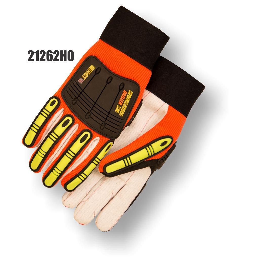 (12 Pair) Knucklehead Driller X10 Glove, Orange, Size Large (21262HO)