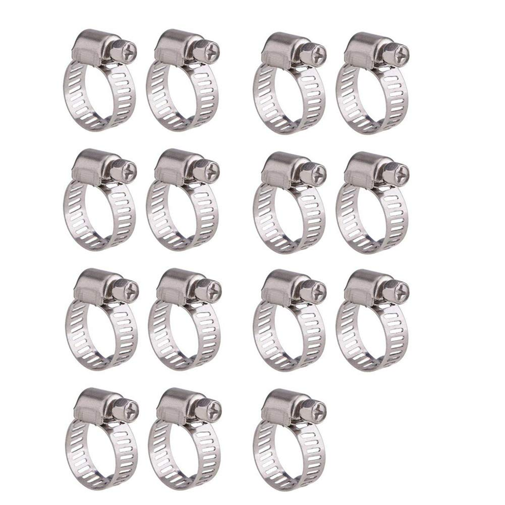 Hose Clips 25mm, 15 Pieces Adjustable 16-25mm Range Stainless Steel Worm Drive Pipes Hose Clamps Clips Prime iTop3te