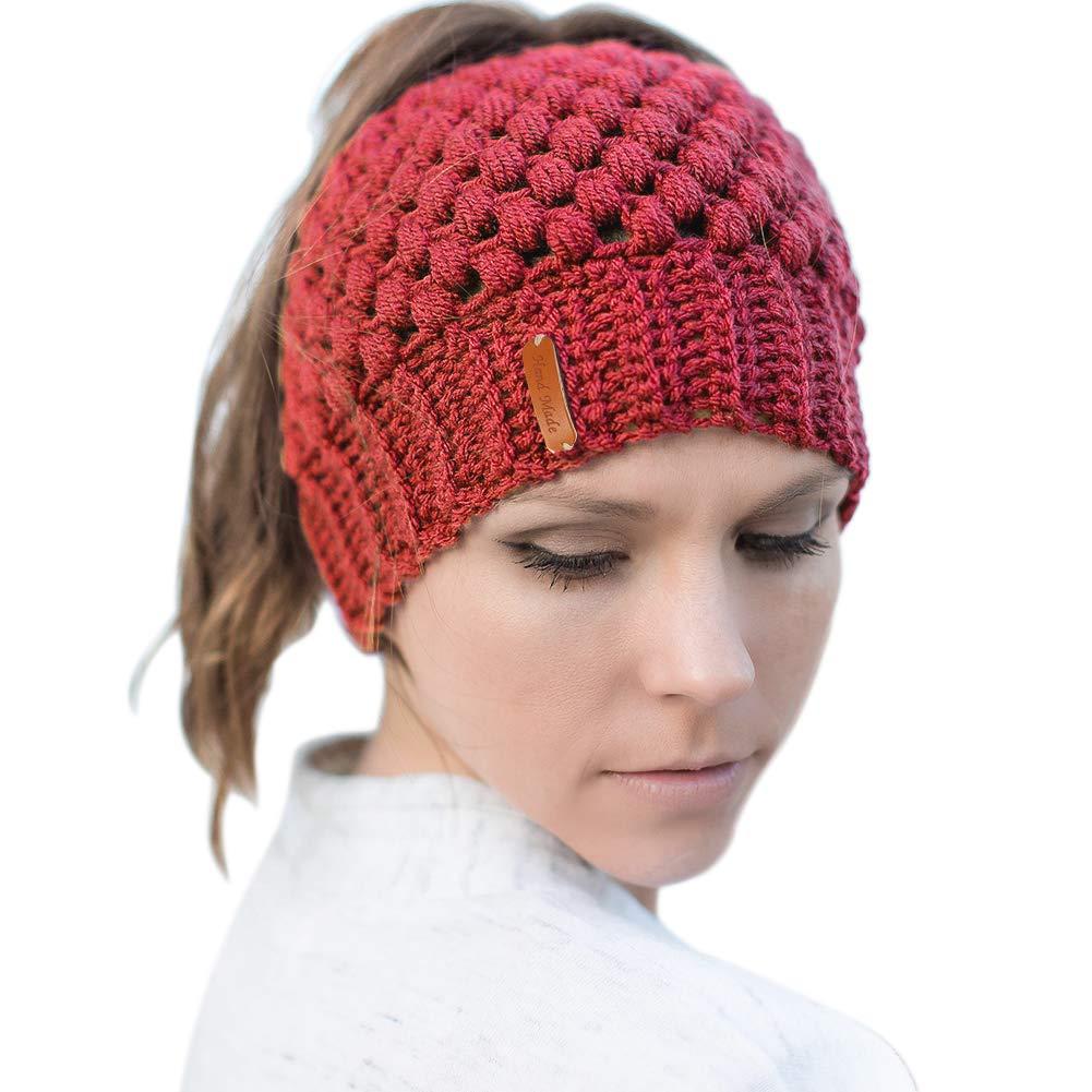 JDYW Beanie Sombrero de Cola de Caballo Sombreros de Punto para Mujeres  Gorro de b é ... 344bb0796eb