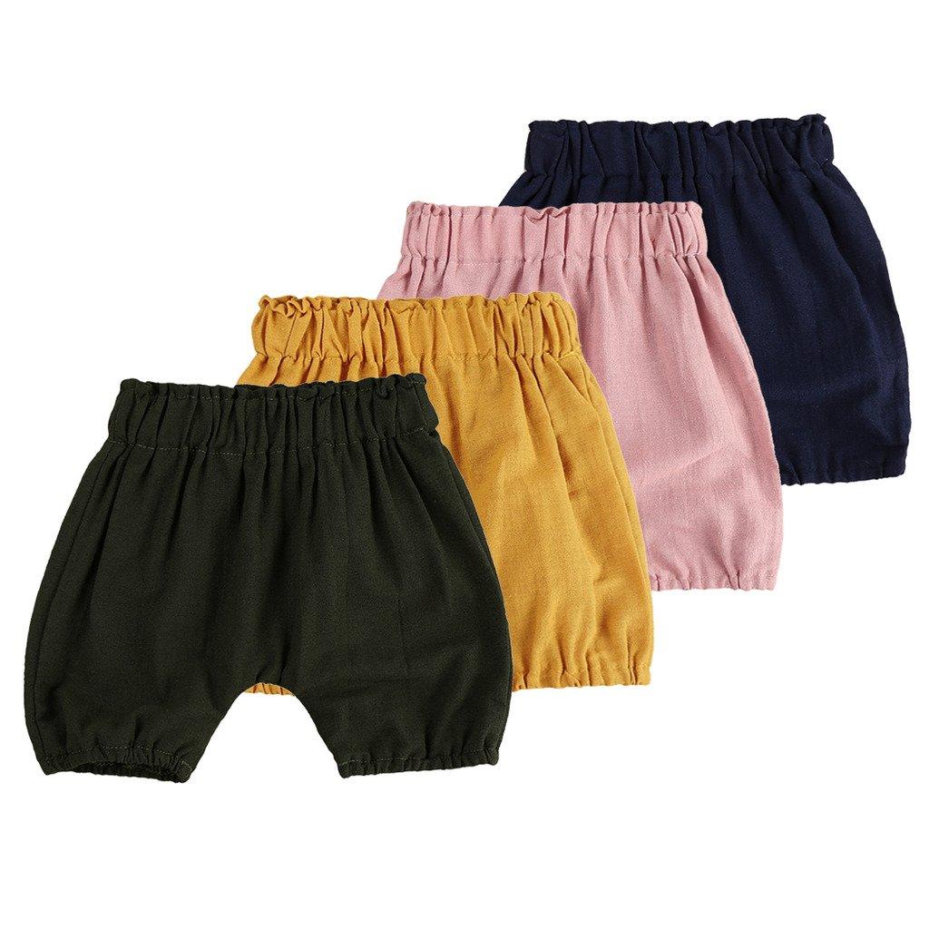MIOIM Unisex Baby Girls Boys Soft Cotton Linen Blend Bloomer Shorts Pants for Infant Kid