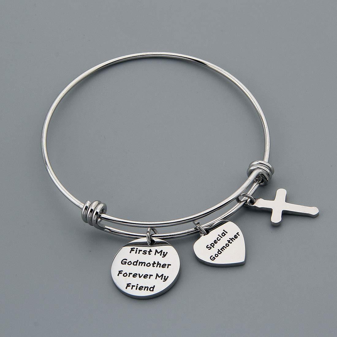 HOLLP Godmother Bracelet Godmother Gifts from Godchild First My Godmother Forever My Friend Godmother Bangle Bracelet Cross Charm Communion Gift