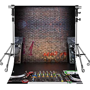 MEETS 5x7ft Music Stage Backdrop Sound Brick Wall Photography Background  Themed Party Photo Booth YouTube Backdrop GEMT827