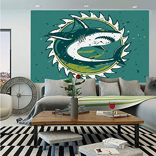 (Sea Animal Decor Removable Wall Mural,Graphic of Shark Hunter in Dark Murky Colors Sharp Teeth Fish Marine Nautical,Self-Adhesive Large Wallpaper for Home Decor 66x96 inches,Green)