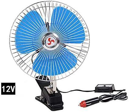 Ventilador del coche Abanico electrico Enfriador,Ventilador oscilante Portátil Ventilador de refrigeración automóvil para Coche,12V: Amazon.es: Coche y moto