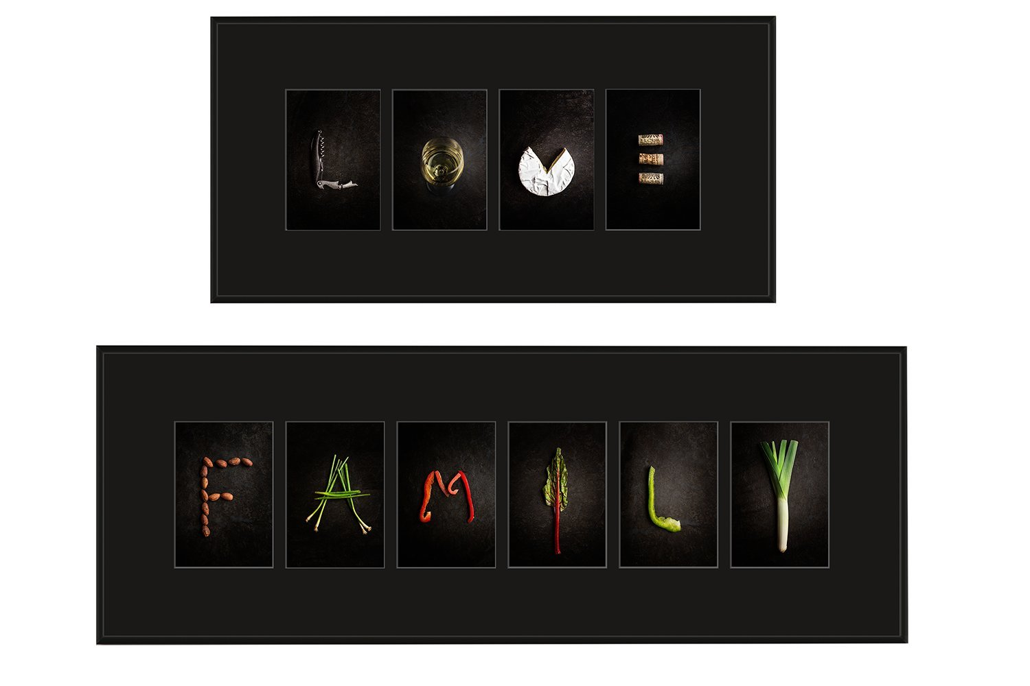 Alphabet Photography Duo 'LOVE' and 'FAMILY' Photography Art, Fine Art Food Photography Black Metal Frames, Black Matting. LOVE size 10x21 FAMILY size 10x29 Inspirational Home Decor