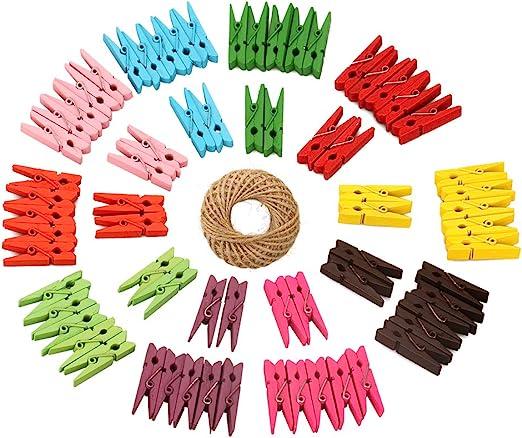 100pcs 2.5cm Mixed Mini Wooden Clip Clothespins Photo Pegs Home Decor Clips