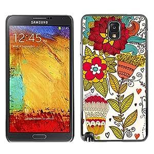 For Samsung Note 3 N9000 - Vintage Vector Flower Wallpaper /Modelo de la piel protectora de la cubierta del caso/ - Super Marley Shop -