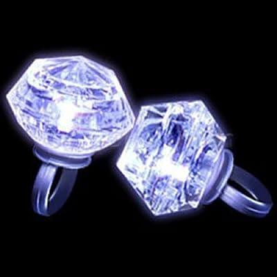 24ct Box LED Light Up White Diamond Gem Gemstone Rings