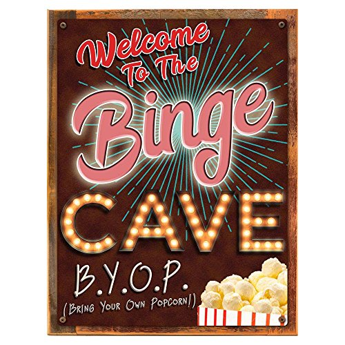 Wood-Framed Welcome to the Binge Cave Metal Sign, Movie Room, Home Theater, Den on reclaimed, rustic ()
