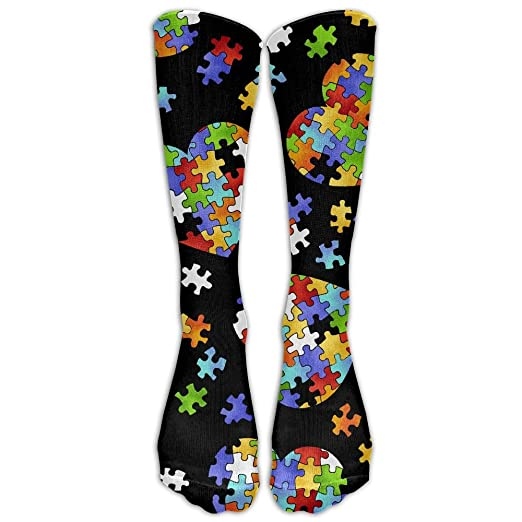 8136d4eaff6c Image Unavailable. Image not available for. Color: Colorful Autism Awareness  Puzzle Pieces Heart Casual Unisex Sock Knee Long High Socks Sport Athletic  Crew