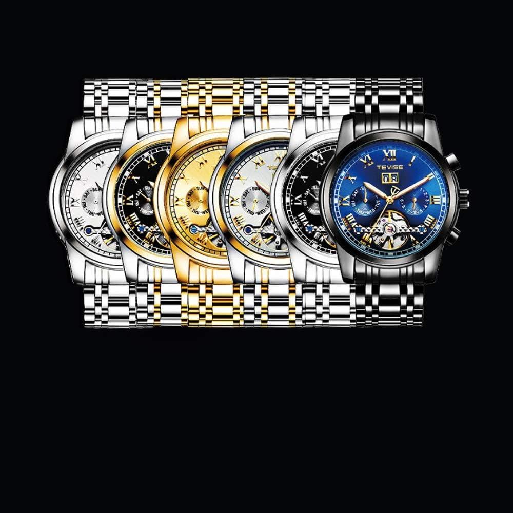 Montres Montre Automatique mécanique pour Les Hommes d'affaires 30M Montres-Bracelet légères à la Mode de Cadeau léger Accessoires Bleu-libre