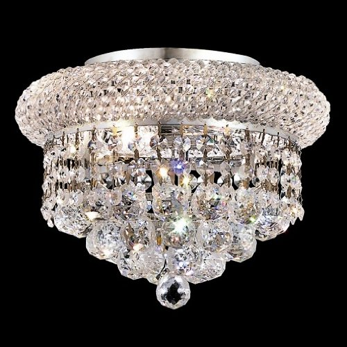 Elegant Lighting 1800F10C/RC Royal Cut Clear Crystal Primo 3-Light, Single-Tier Flush Mount Crystal Chandelier, Finished In Chrome with Clear Crystals