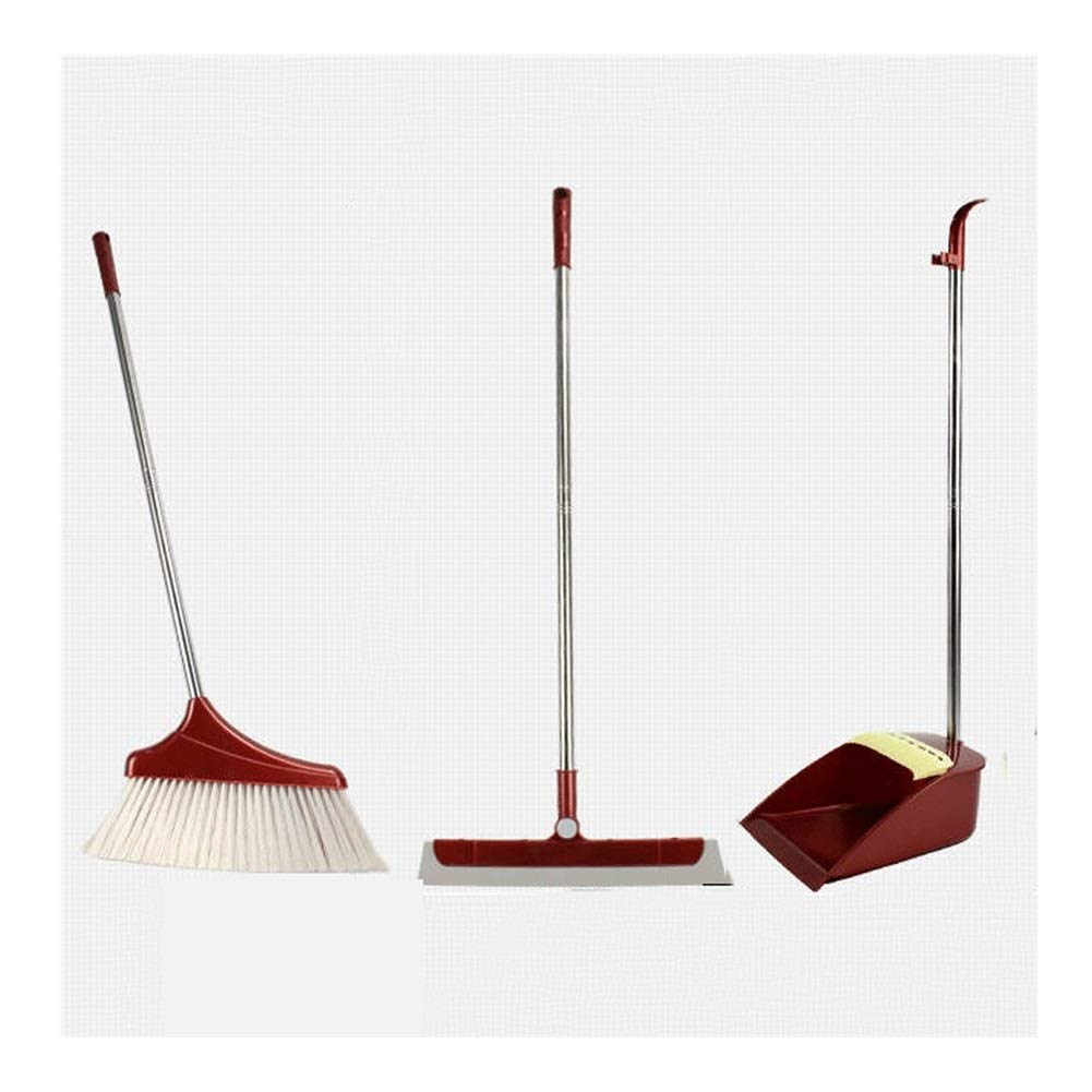 Rotatable Extra Long Handle Multi-Function Broom And Dustpan Non-stick Hair Stainless Steel Rod Windproof Broom Set Home Kitchen Office Garden Cleaning Tools (Color : Red) by HUABEI