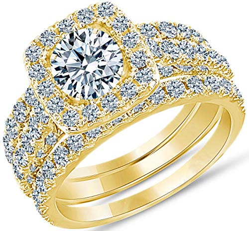 2 Carat Diamond Engagement Ring - IGI Certified 14 Karat Yellow Gold Diamond Ring for Women Diamond Engagement Ring by Beverly Hills Jewelers (Size 7)