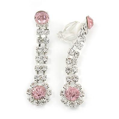Long Teardrop Clear// Pink Crystal Drop Earrings In Silver Tone 45mm L
