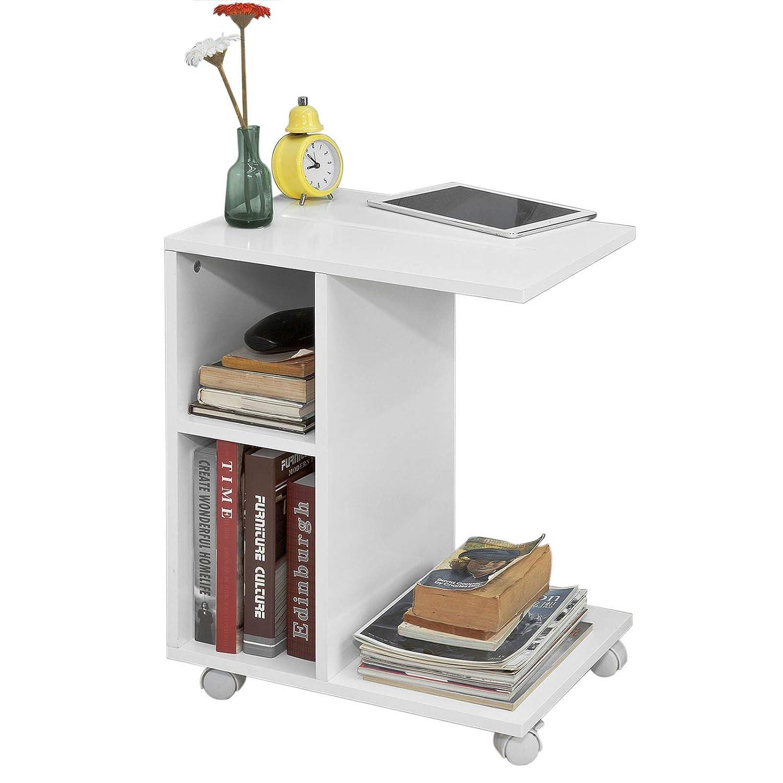 SoBuy FBT48-W, Tavolino Consolle su rotelle, Tavolino da divano, bianco, IT