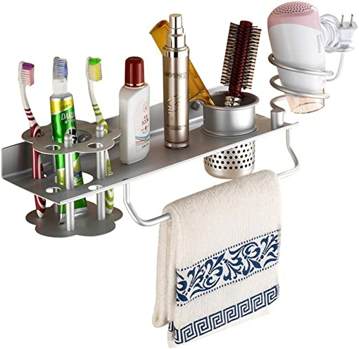 Wall Mounted Hair Dryer Holder Toothpaste Cup Storage Rack Bathroom Organizer