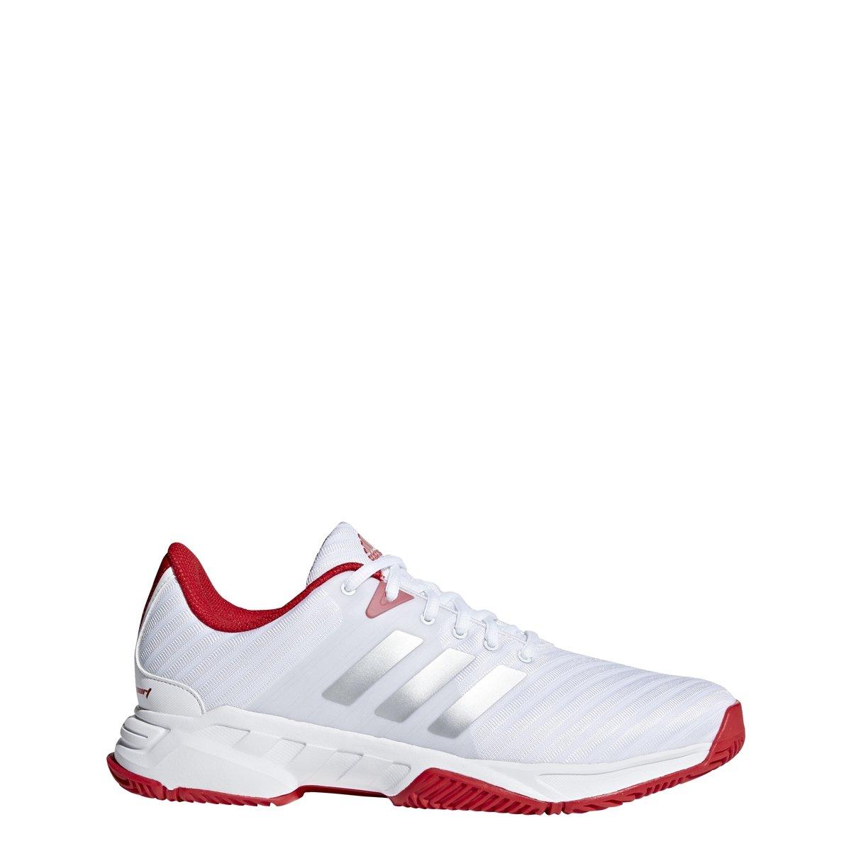 adidas Performance Men's Barricade Court 3 Tennis Shoe, White/Matte Silver/Scarlet, 10 M US