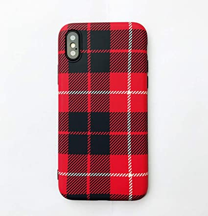 new product 84643 3596c iPhone Xs Max Case, Ebetterr Plaid Print Protective Cover Shell, Matte Slim  Fit Anti Scratch Shockproof Soft TPU Bumper Flexible Rubber Gel Silicone ...