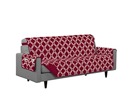Linen Store Austin Quilted Reversible Microfiber Furniture Protector With  Strap And Pockets, Burgundy, Sofa