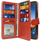 NEXTKIN Galaxy S7 Active Case, Premium Leather Wallet TPU Cover, 2 Large inner Pockets Double flap Privacy, 9 Card Slots Holder Snap Button & Wrist Strap For Samsung Galaxy S7 Active G891 - Dark Brown
