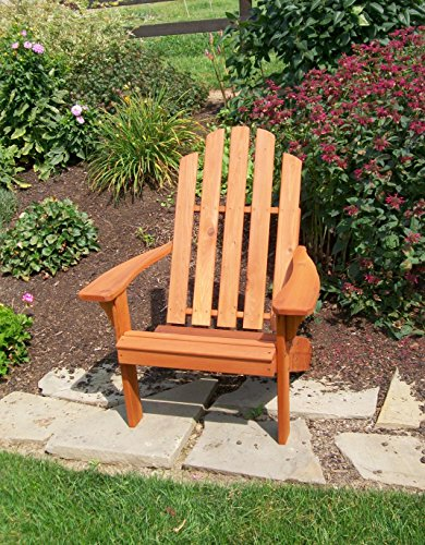 Cedar Wood Adirondack Chair, Amish Made Outdoor Chairs, Weather Resistant Wooden Patio Deck and Porch Outside Furniture, Modern, Casual & Rustic Style Choices (Kennebunkport Redwood) (Elm West Patio Chairs)