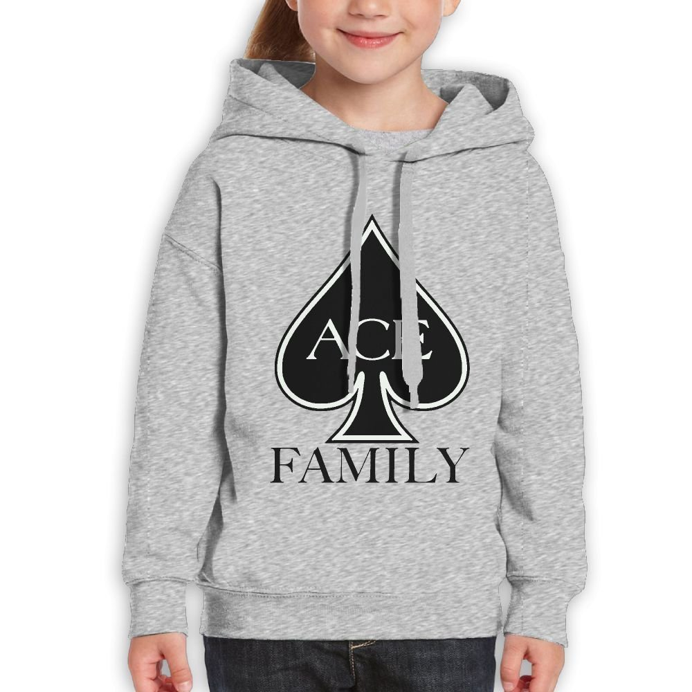 Youth Hooded Sweatshirt ACE Family Fashion Classic Style Ash