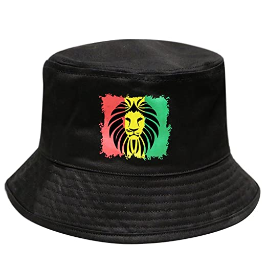 Amazon.com  City Hunter Bd1290 Lion Rasta Bucket Hats - Black  Clothing 63d3673f0416