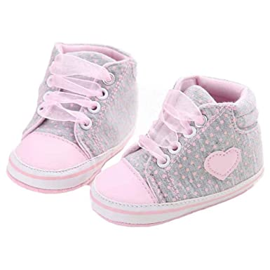 a402c1ad3bce WARMSHOP Baby Girl Canvas Shoe Heart Shape Lace-up Soft Sole Toddler  Sneakers (Gray