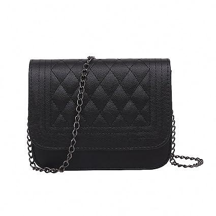NEW Women Messenger Bag Plaid Ladies Crossbody Bag Chain Trendy Candy Color  Small Handbag A Black ce1a6f0af395c