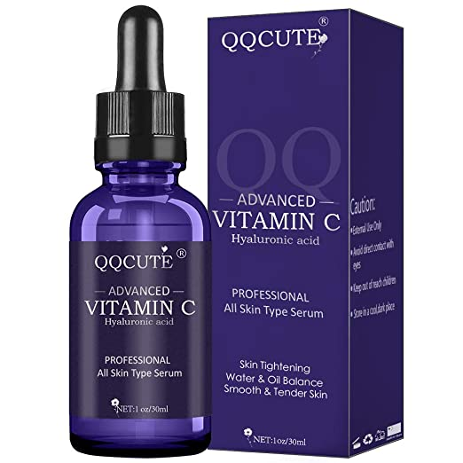 QQcute 30% Vitamin C Serum with Hyaluronic Acid, Organic Anti-aging Moisturizing Skin Care for Face and Neck with Natural Ingredients Eye & Facial Treatment Serum(1 fl. oz) best night serum