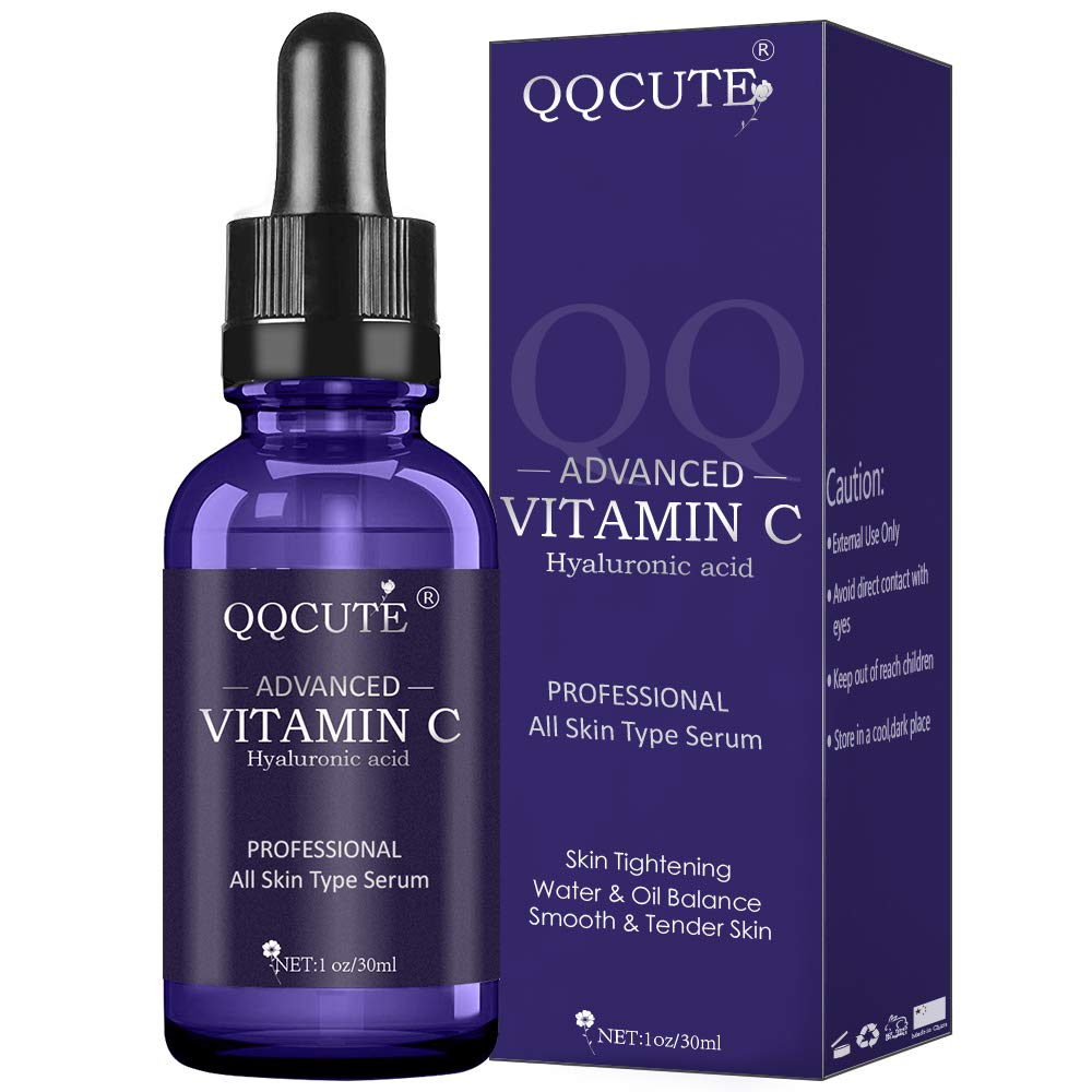 QQcute 30% Vitamin C Serum with Hyaluronic Acid, Organic Anti-aging Moisturizing Skin Care for Face and Neck with Natural Ingredients Eye & Facial Treatment Serum(1 fl. oz) by QQcute (Image #1)