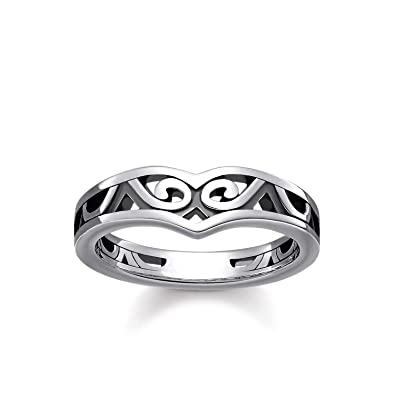 Thomas Sabo Women ring Maori ornamentation 925 Sterling Silver, Blackened TR2131-637-21