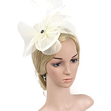 fdeee2b1eb1bd BAOBAO Women Feather Flower Net Veil Fascinator Mini Top Hat Hair Clip  Wedding Party