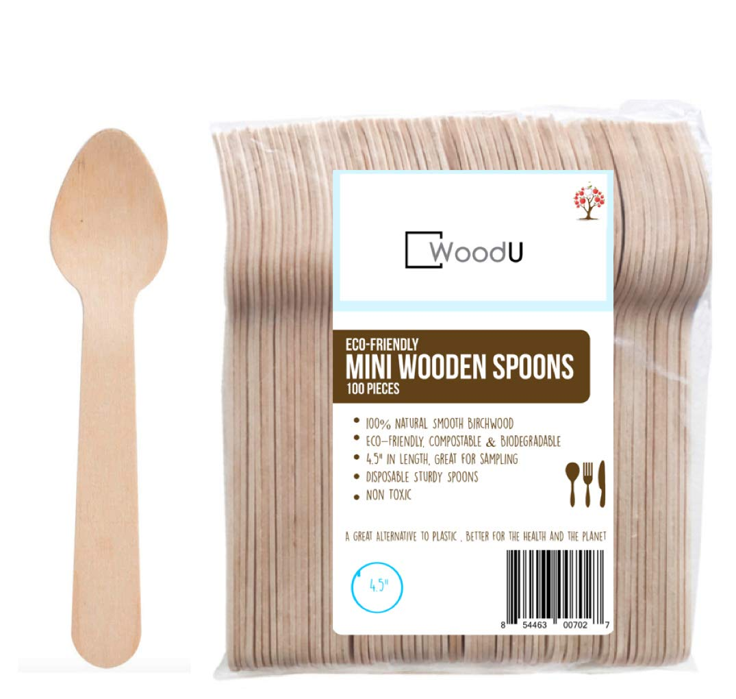 """Wooden Disposable Mini Tasting Spoons, 4.5"""" Length Eco-Friendly Biodegradable Compostable Birchwood (Pack of 100) GO GREEN! by WoodU (Image #1)"""