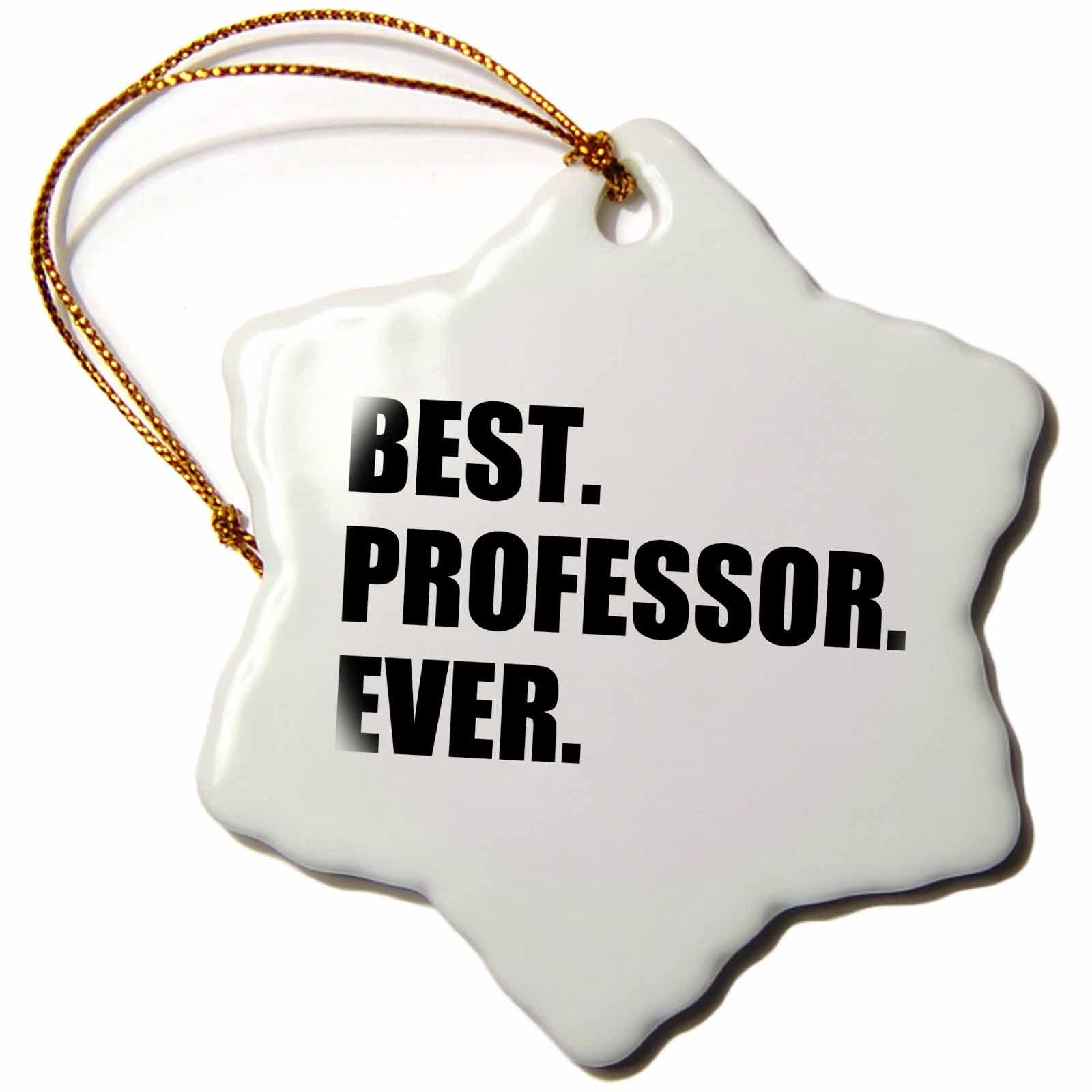 3dRose orn_185014_1 Best Professor Ever, Gift for Inspiring College University Lecturers Snowflake Porcelain Ornament, 3''