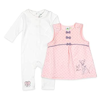 7e46f84261 Disney Baby Set Mädchen weiß rosa | Motiv: Bambi | Baby Strampler mit Kleid  für