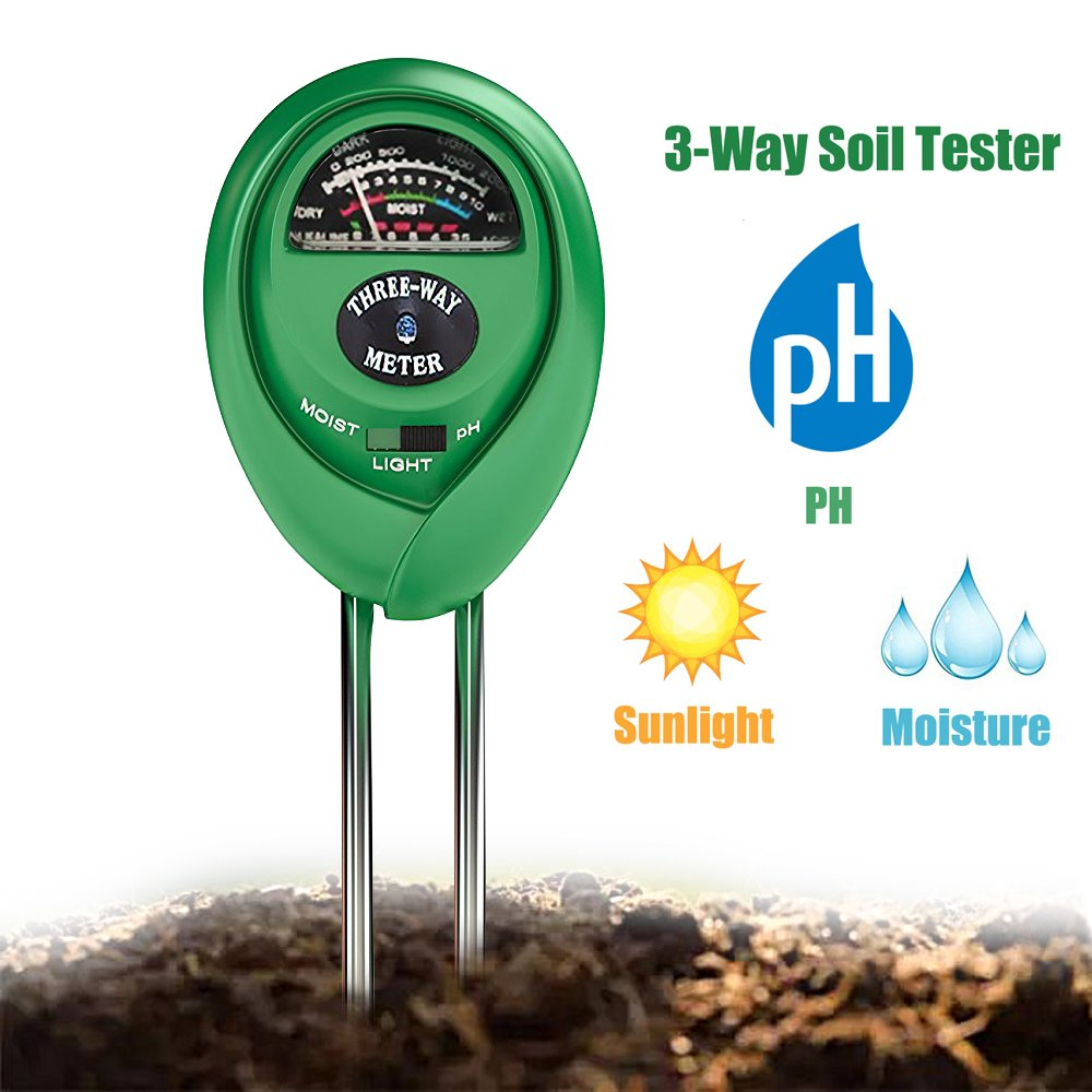 Soil Tester 3-in-1 Moisture Light PH Multifunctional Soil Acidity Test Kit, Best Probe Tester for Home And Garden, Lawn, Farm, Plants, Herbs & Gardening Tools, Indoor/Outdoors Plant Care by