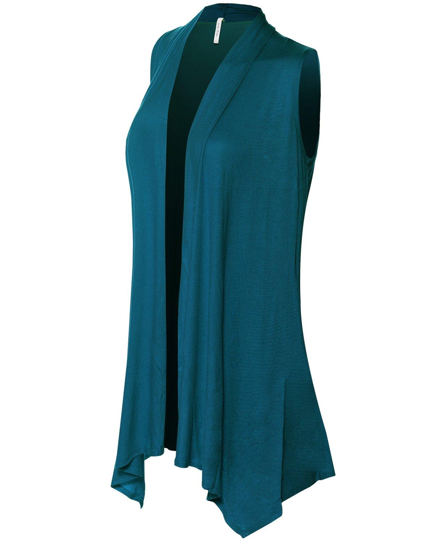 Instar Mode Women's Lightweight Sleeveless Draped Open Front Cardigan Vest Teal XL