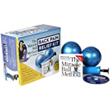 """The Miracle Ball Method with Elaine Petrone Back Pain Relief Deluxe Kit Includes: Instruction Book, 2- 4"""" Balls, Pump and Instructional DVD"""