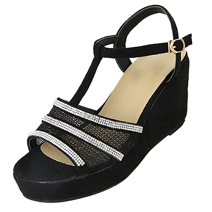 dea2f2dec Amazon.com  Girls Fashion Wedge Sandals Casual Shoes Women Ladies Summer  T-Strap Buckle Peep Toe Sandals Black  Clothing